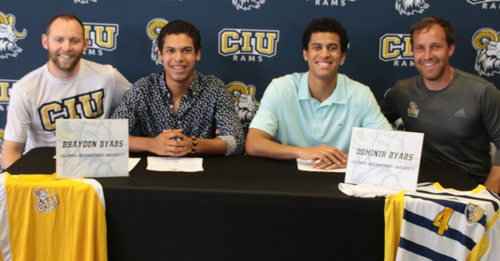 The Byars brothers with their CIU coaches (l-r) Cross Country and Track Coach Jud Brooker, Braydon Byars, Dominik Byars and Men's Soccer Coach Bill Brindley