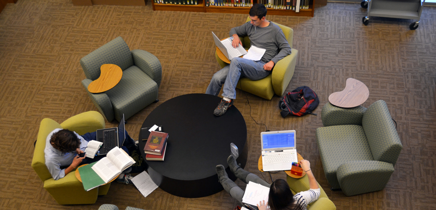Undergraduate students studying in CIU's library.