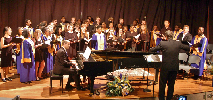 The CIU Ambassador Choir joins with the Allen University Choir in Hoke Auditorium on the CIU campus