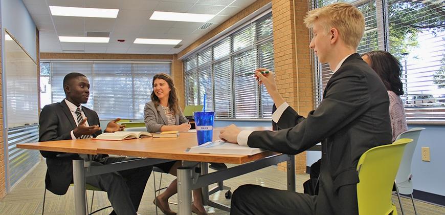 Discussing business start ups in the John R. Cook Jr. Entrepreneurship Center
