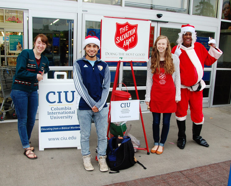 CIU students ringing Salvation Army bells at Wal-Mart