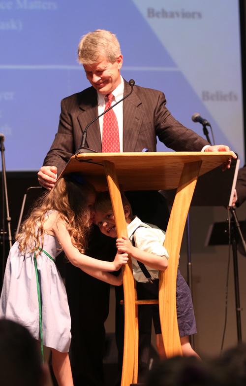 Dr. Bill Jones with grandchildren.