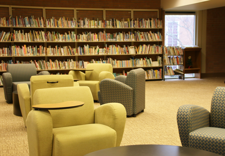 Some of the new study space in the G. Allen Fleece Library.