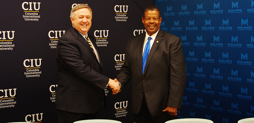 CIU President Dr. Mark Smith and Midlands Technical College President Dr. Ronald Rhames
