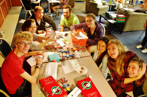 CIU Students pack shoe boxes for Operation Christmas Child