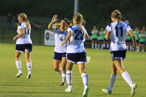 Lady Rams celebrate goal