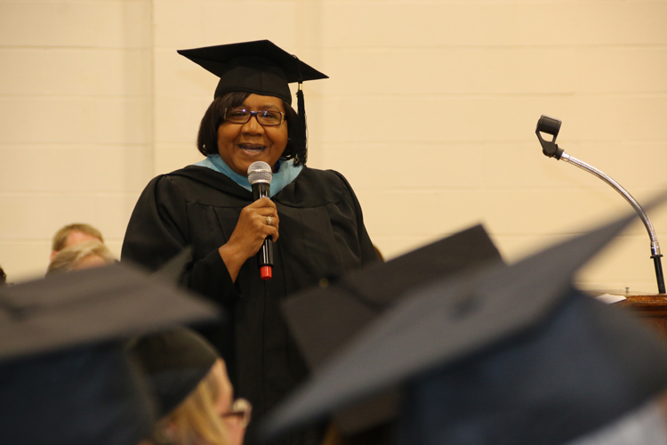 Peggie Johnson speaks to graduates of the CIU Prison Initiative