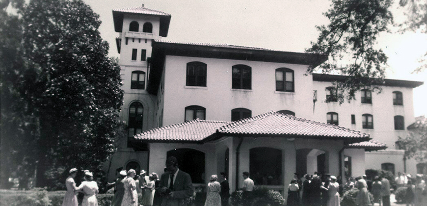 An historic photo of Colonia Hotel in downtown Columbia, former site of Columbia International University.
