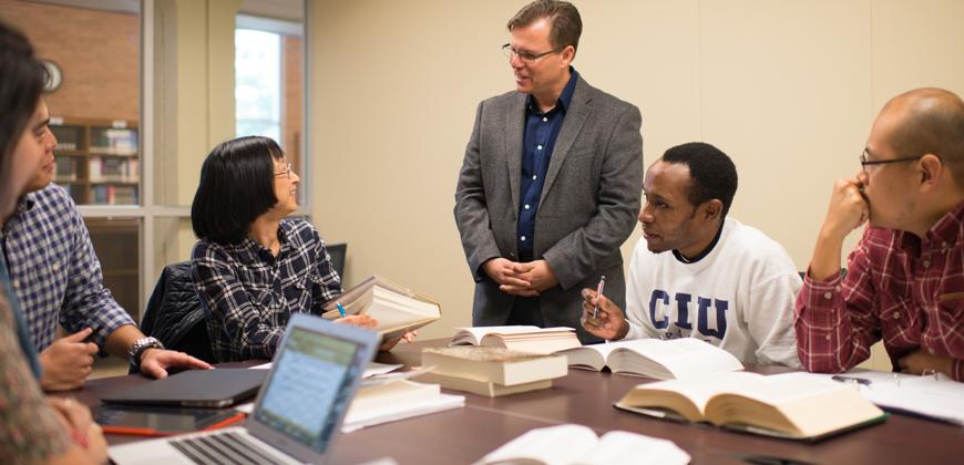CIU offers graduate and seminary degree programs. A photo of a graduate class at CIU.