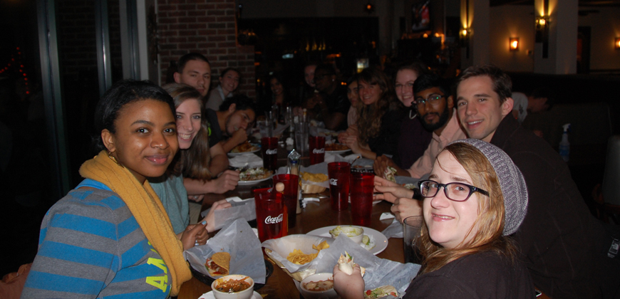 CIU students dining at a restaurant in downtown Columbia.