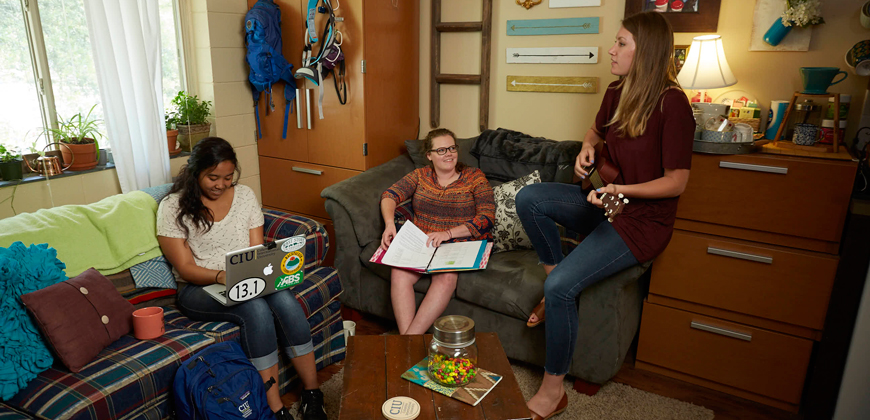 CIU students hanging out in the residence hall.