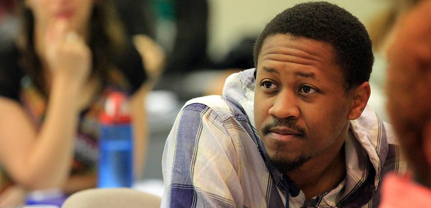 An attentive CIU student in class.