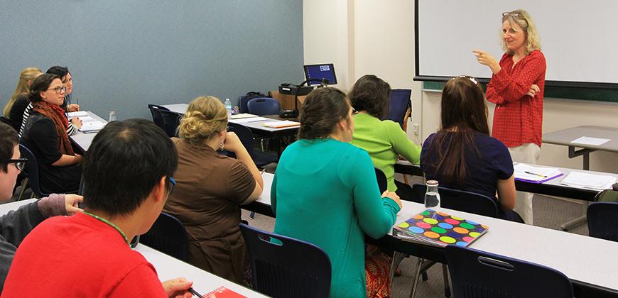 A professor teaching a class at Columbia International University.