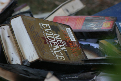 Books damaged by the fire.