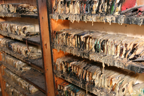 The intense heat of the fire melted rows of audio tapes including CIU chapel mes