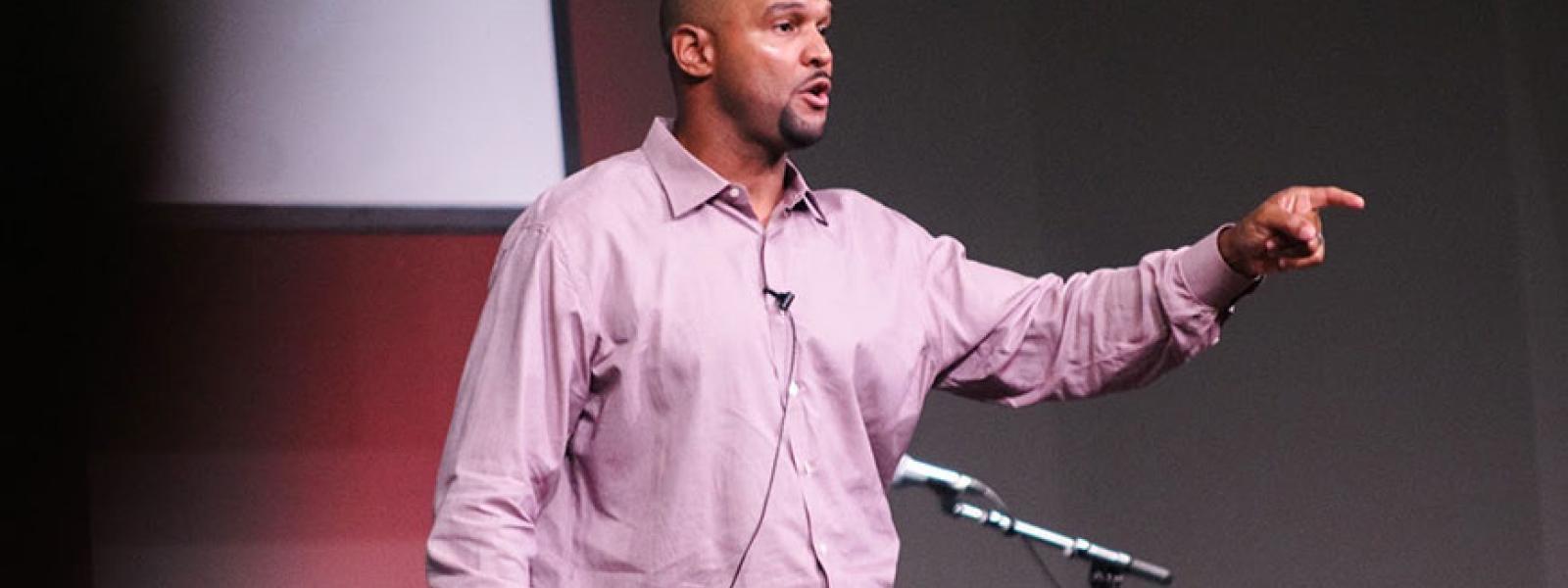 Michael Boulware speaks in CIU's Shortess Chapel.
