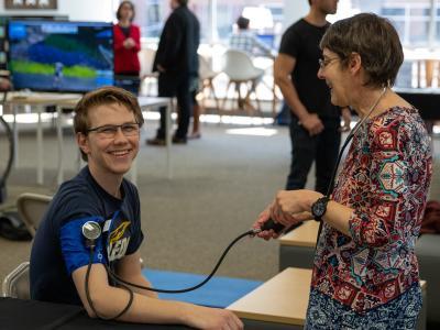 CIU Health Fair blood pressure check.