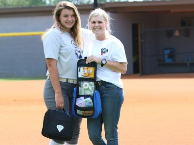 CIU Ram and Business major Reagan Cox and her mom Christy show off Body Chek Sports Essentials.