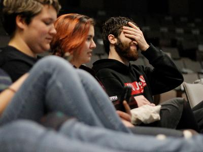 The agony of defeat for Kaleb Howell during a round of Kahoot! (Photos by Renee Laine, CIU student photographer)