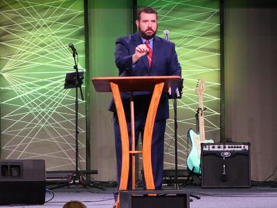 Dr. David Croteau addresses the student body during Authority of Scripture Week