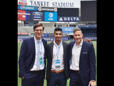 Agustin Arce-Ruiz (center) with NYCFC Director of Team Operations Sam Pugsley, (left) and Team Coordinator Nick True-Palmer