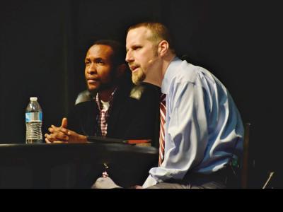 CIU Student Kennedy Banda with Dr. Brian Gault, Columbia Biblical Seminary professor.
