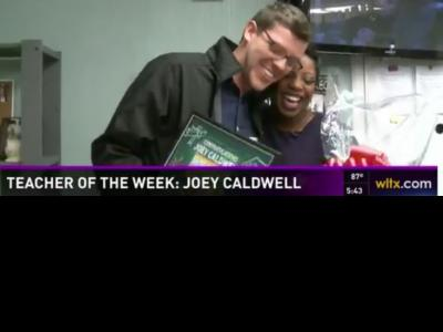Joey Caldwell with WLTX TV news anchor Darci Strickland