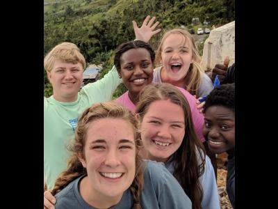 CIU students take a break from hurricane clean-up in Puerto Rico