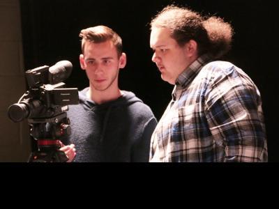 Cinematography students Jonathan Phifer (left) and Zachary Lane