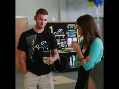 1More Tour rider Jeremy Rife ponders a question from a CIU student.