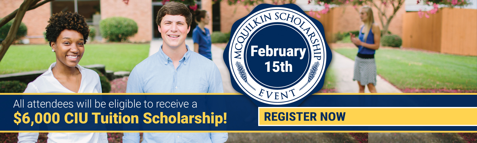 A graphic promoting the CIU McQuilkin Scholarship.