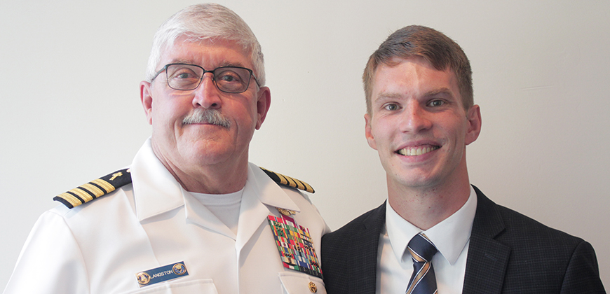 CIU Chaplaincy Professor Dr. Mike Langston, a former Navy chaplain and new Navy chaplain Caleb McKillop.