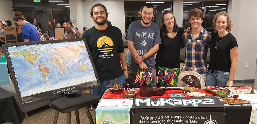Josiah Anzenberger (second from right) with members of MuKappa, a campus organization of Missionary Kids, or MKs – students whose parents are missionaries.