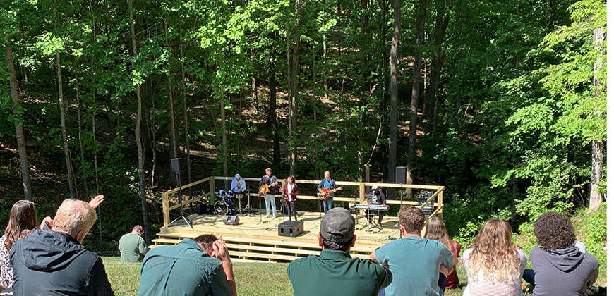 """The """"Cathedral of Trees."""" Outdoor worship at the new CIU amphitheater."""
