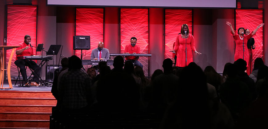 CIU worship team leads in praise during Black History Month