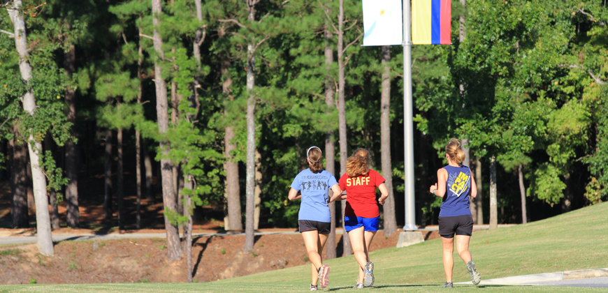 CIU students jogging on campus.