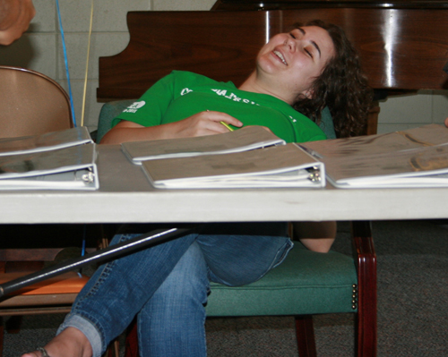 Working hard. Student Olivia Reibold takes a break during registration.
