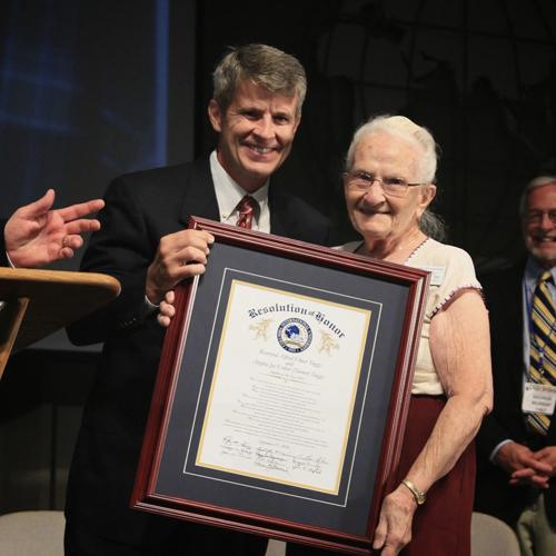 Joy Tuggy poses with CIU President Bill Jones.