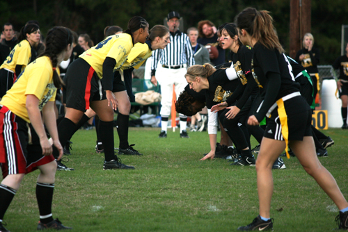 At the line of scrimmage in the women's President's Bowl game.