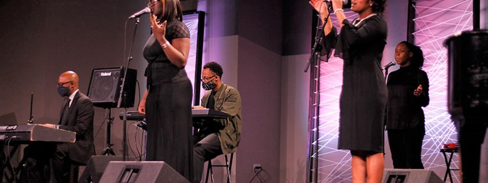 A special worship team led the music for the Black History Month celebration.