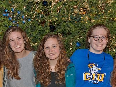 Joanna Railey, Grace Hipp and Essie McCurdy celebrate Christmas at CIU.