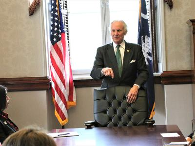 South Carolina Gov. Henry McMaster meets with CIU students in the governor's conference room at the Statehouse.