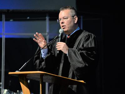 Pastor Andrew Brunson speaks to CIU students.