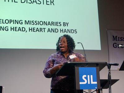 Dr. Michelle Raven discusses Disaster Relief and Emergency Management at a 2019 meeting of the Evangelical Missiological Society