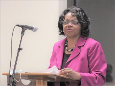 "CIU English Program Director Dr. Sandra Young opens ""Responses to Injustice"" series. (Photos by Johnathan Rabon, CIU Student Photographer)"