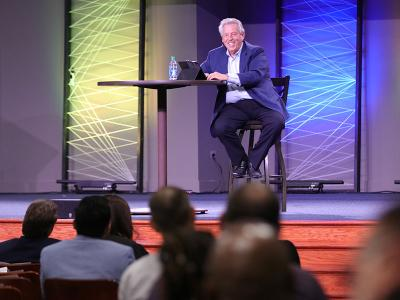 Dr. John C. Maxwell addresses the audience in Shortess Chapel at CIU. (Photos by Kierston Smith