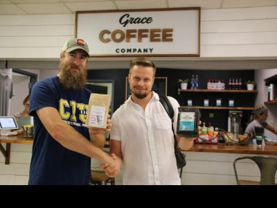 Coffee business owners Matt Beyer of Columbia and Pavel Busygin of Russia.