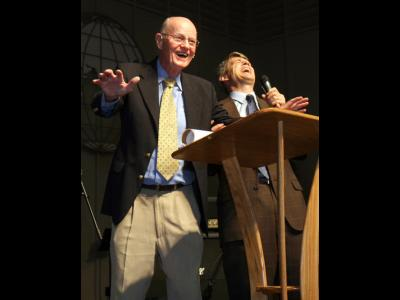 """Sorry I'm not 110."" Robertson McQuilkin (left) jokes with CIU President Bill Jo"